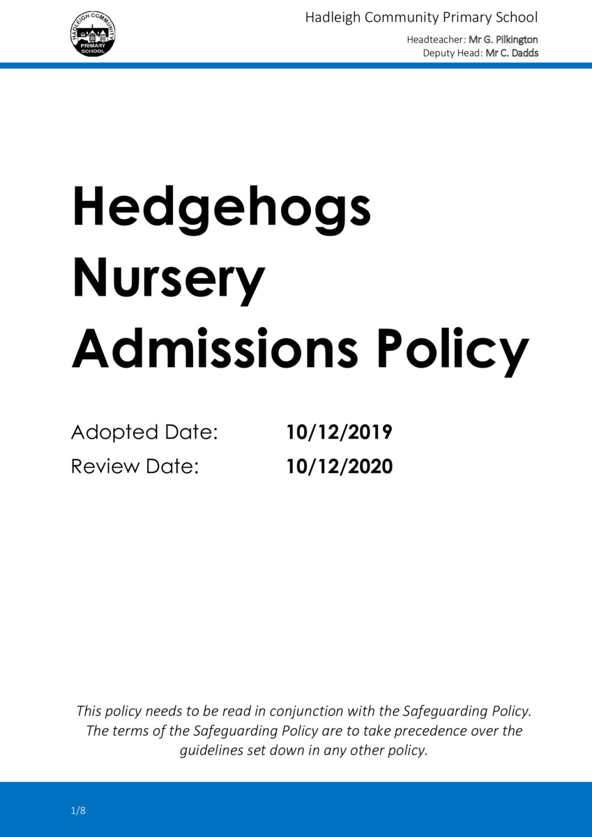 thumbnail of POLICY-2019-20-Hedgehogs-Nursery-Admissions