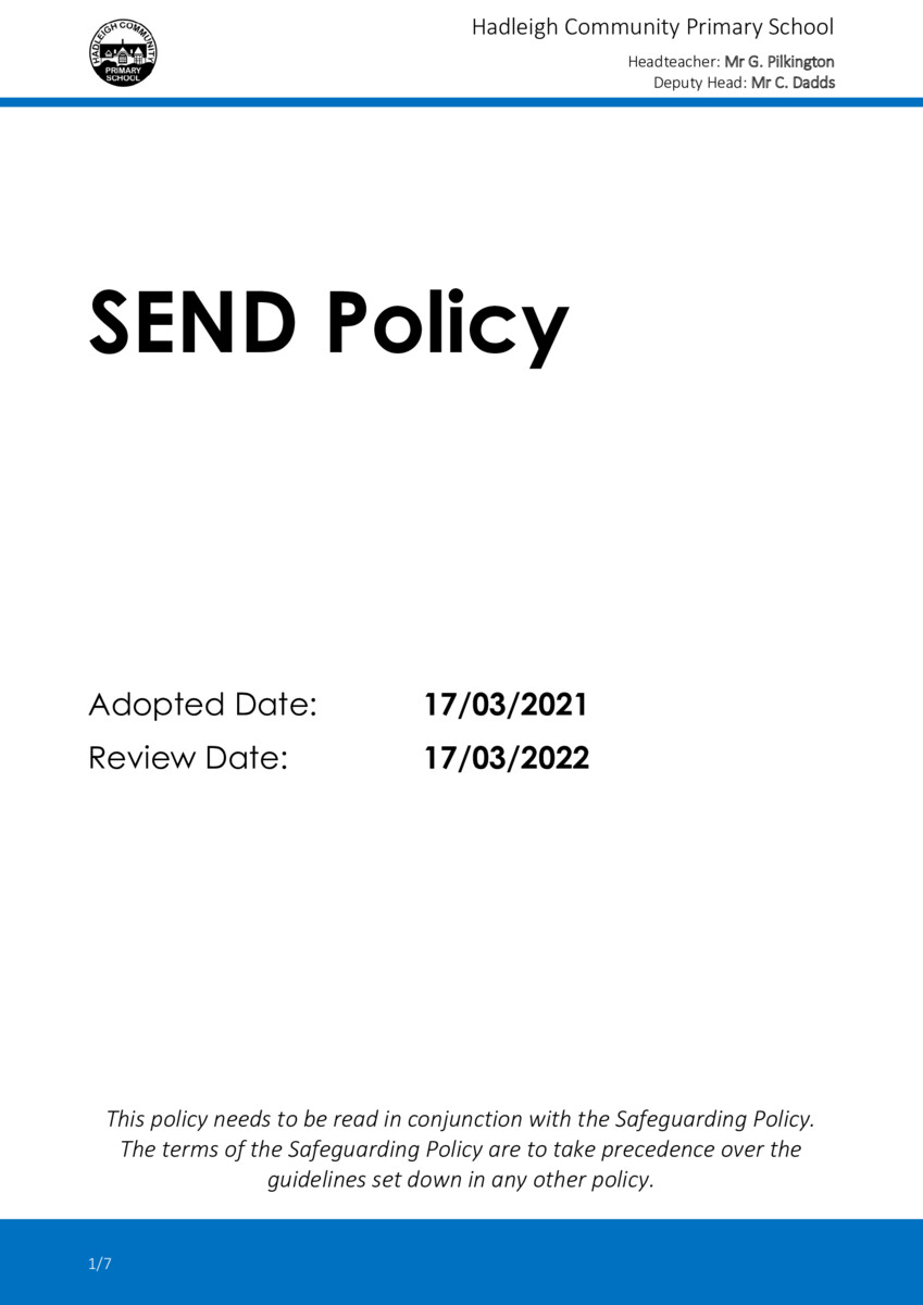thumbnail of 2021-03 SEND Policy