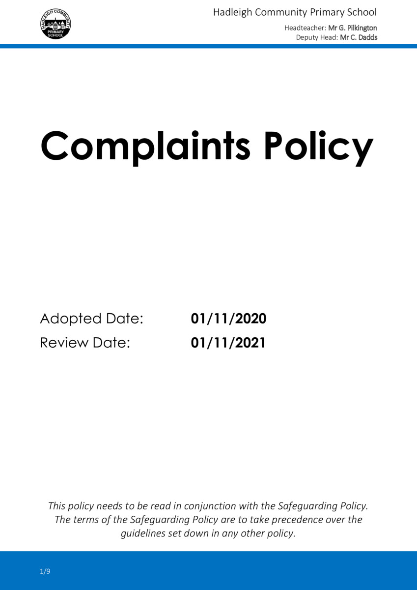 thumbnail of 2021 Complaints Policy