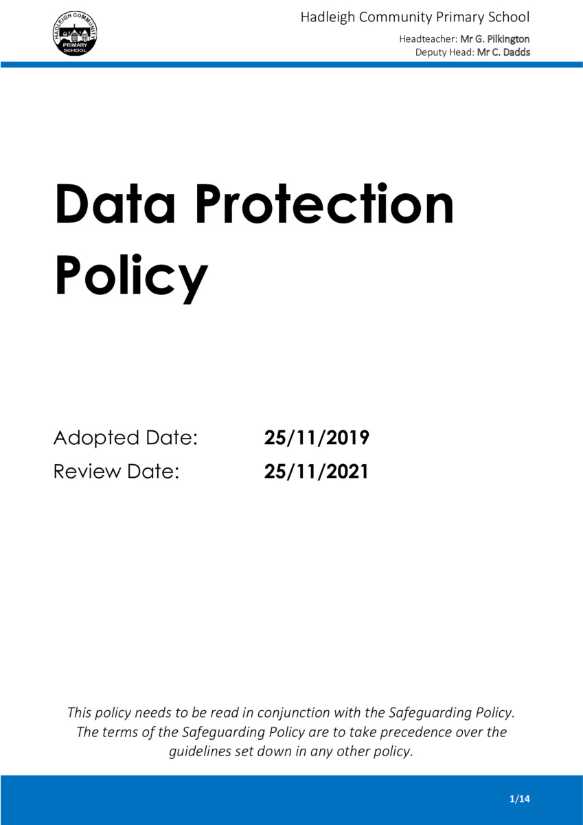 thumbnail of Data Protection Policy 2019-21