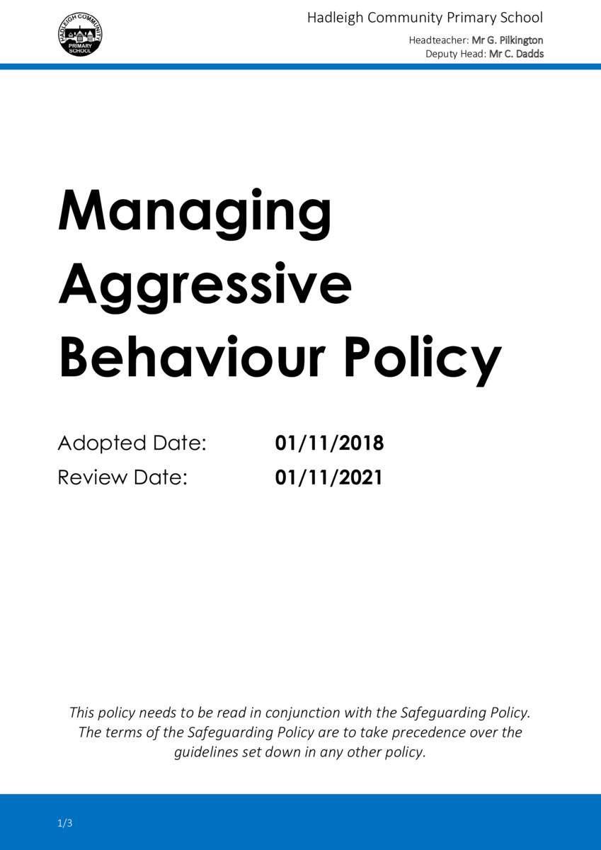 thumbnail of Managing Aggressive Behaviour Policy 2018-21