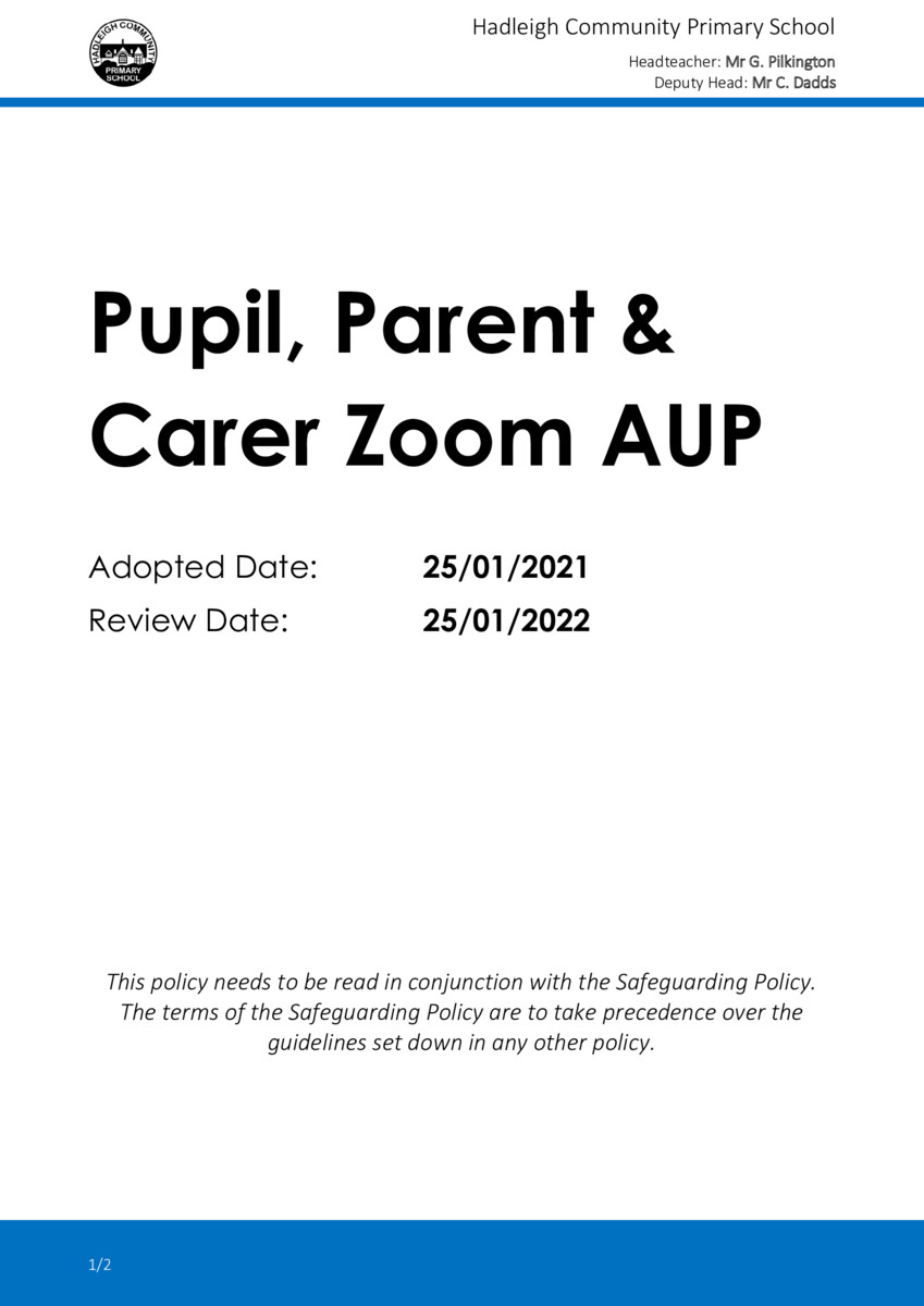 thumbnail of Zoom Pupil, Parent, Carer Acceptable Use Policy 2021