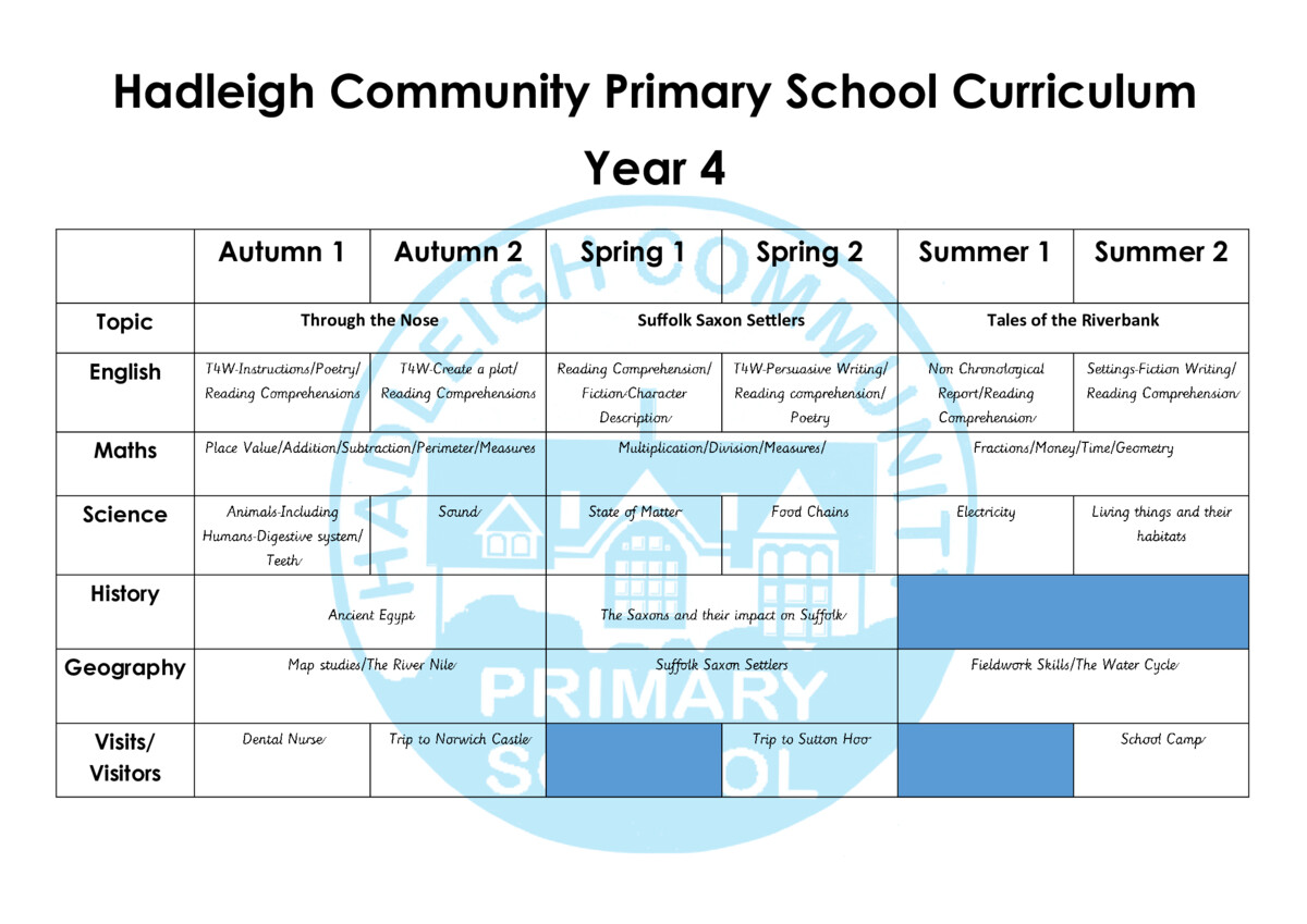 thumbnail of Year 4 Curriculum Revised