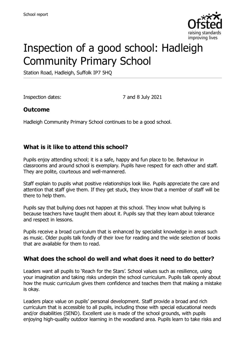 thumbnail of 2021 Ofsted Report